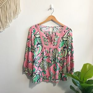 Crown & Ivy Patterned Blouse Pink Size L